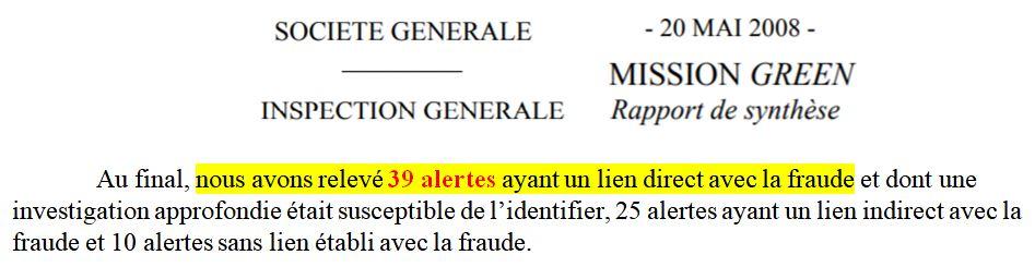 Rapport Green inspection générale société générale alertes Kerviel 2008